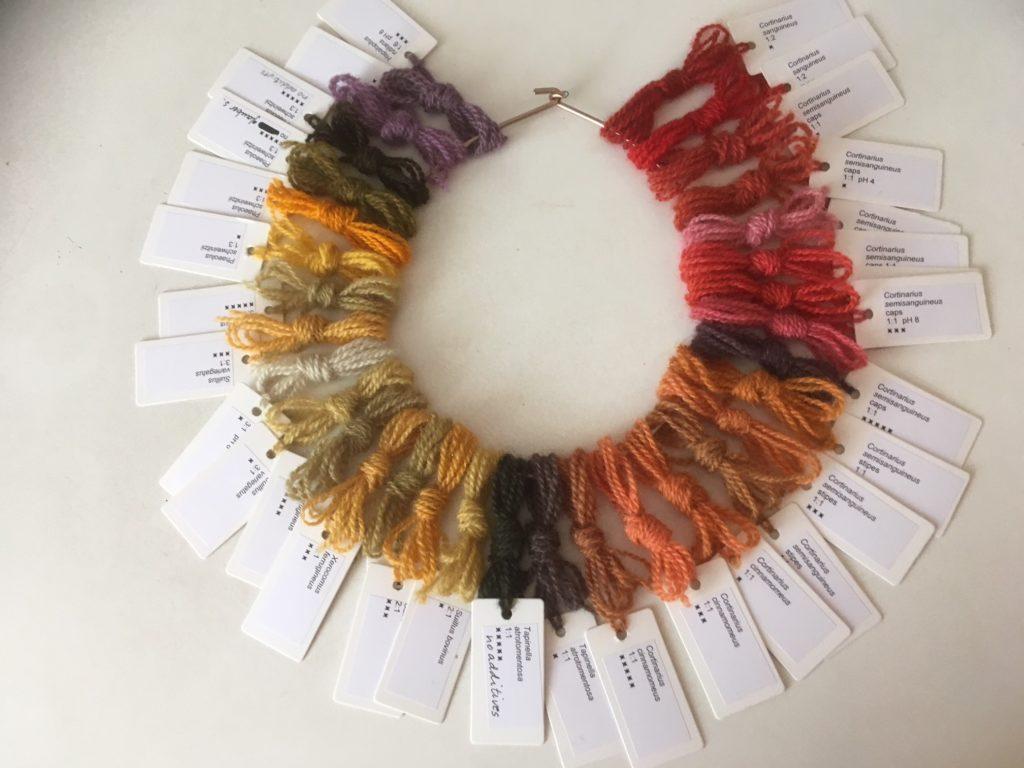 En ring med garnprøver som viser hele fargespekteret man kan få til med soppfarget garn.